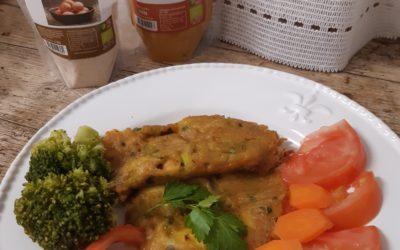 Pataniscas de Grão com Vegetais e Cúrcuma